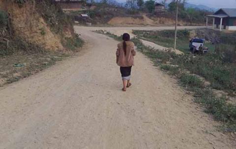 The road we walk to school.